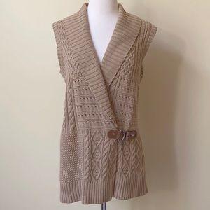 Ralph Lauren Cable Knit Cardigan Tan Sweater Vest
